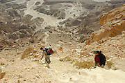 Israel, Negev plains, A group hiking on the mountain
