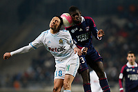 FOOTBALL - FRENCH CHAMPIONSHIP 2011/2012 - L1 - OLYMPIQUE MARSEILLE v OLYMPIQUE LYONNAIS - 5/02/2012 - PHOTO PHILIPPE LAURENSON / DPPI - MORGAN AMALFITANO (OM) / SAMUEL UMTITI (OL)