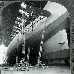 Jan. 1, 1920 - Graf Zeppelin with Damaged Fin, First Airship to Cross Atlantic Ocean, Lakehurst, New Jersey, USA, Where it Arrived October 15, 1928 (Credit Image: © Glasshouse/ZUMAPRESS.com)