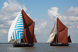 © Licensed to London News Pictures. 25/06/2016. Classic Thames sailing barges have taken part in their annual barge match race. It's the 85th time the race has taken place, making it one of the oldest regularly organised sailing races in the world. The vessels used to ply their trade on the Thames and are now retained as heritage ships. The first Thames sailing barge match was in 1863 Credit: Rob Powell/LNP