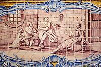 Portugal, Lisbonne, mosteiro dos Jeronimos ou monastere des Hieronymites, classé Patrimoine Mondial de l'UNESCO, azulejos du réfectoire des moines // Portugal, Lisbon, mosteiro dos Jeronimos, Jeronimos monastery, UNESCO world heritage, tiles, azulejos in the Ancient Refectory (Antigo Refeitorio)