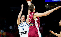 Goran Dragic of Slovenia vs Kristaps Porzingis of Latvia during basketball match between National Teams of Slovenia and Latvia at Day 13 in Round of 16 of the FIBA EuroBasket 2017 at Sinan Erdem Dome in Istanbul, Turkey on September 12, 2017. Photo by Vid Ponikvar / Sportida