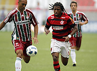 20111009: RJ, BRAZIL -  Football match between Flamengo and Fluminense at Engenhao stadium in Rio de Janeiro. In picture Diego Mauricio (R) Flamengo<br /> PHOTO: CITYFILES