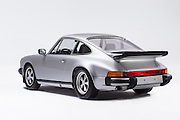 Image of a silver 1976 Porsche 911 Euro Carrera in the studio, Bellevue, Washington, Pacific Northwest