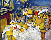Still Life with Basket of Fruit' (The Kitchen Table) 1888-1890. Paul Cezanne (1839-1906) French Post-Impressionist artist. Domestic Interior Apple Pear