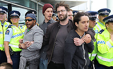 Auckland-Protestors blockade Defence Industry forum
