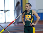 Norfolk State senior Katie Wright finished second in the Women's Poll Vault with a jump of 3.34 meters during the 2012 MEAC Indoor Track Championship in Landover, Maryland.  02/18/12  (Photo by Mark W. Sutton)