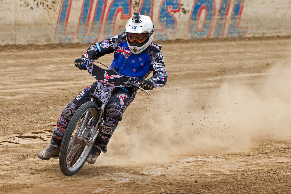 New Zealand Champion Jason Bunyan gives a demonstration ride at the media launch of the 2013 Buckley Systems New Zealand FIM Speedway Grand Prix, Western Springs, Auckland, New Zealand, Tuesday, February 19, 2013.   Credit: SNPA / David Rowland
