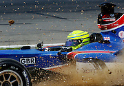 JOHANNESBURG, SOUTH AFRICA -  22 February 2009, Team Great Britains Danny Watts in the sand during the Sprint Race of the A1GP held at Kyalami Motor Racing Circuit in Johannesburg, Gauteng, South Africa...Photo by Barry Aldworth/SPORTZPICS