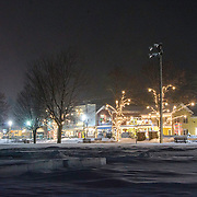 North Conway Village, Schouler Park, nighttime, new snow