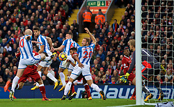 LIVERPOOL, ENGLAND - Saturday, October 28, 2017: Liverpool's Roberto Firmino scores the second goal during the FA Premier League match between Liverpool and Huddersfield Town at Anfield. (Pic by David Rawcliffe/Propaganda)