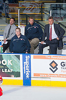 KELOWNA, CANADA -JANUARY 29: Head coach Don Nachbaur of the Spokane Chiefs stands on the bench with his staff against the Kelowna Rockets on January 29, 2014 at Prospera Place in Kelowna, British Columbia, Canada.   (Photo by Marissa Baecker/Getty Images)  *** Local Caption *** Don Nachbaur;