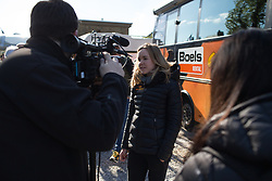 Anna van der Breggen (NED) of Boels-Dolmans Cycling Team talks to a reporter before the start of  La Flèche Wallonne Femmes - a 120 km road race, starting and finishing in Huy on April 19, 2017, in Liège, Belgium.
