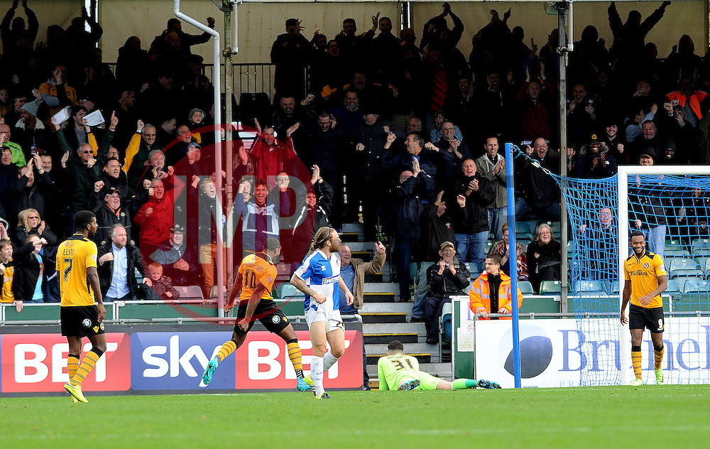 Newport County celebrate their second goal - Mandatory byline: Neil Brookman/JMP - 07966 386802 - 24/10/2015 - FOOTBALL - Memorial Stadium - Bristol, England - Bristol Rovers v Newport County AFC - Sky Bet League Two