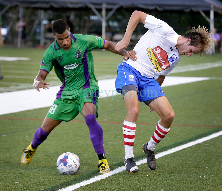 27 June 2015. New Orleans, Louisiana.<br /> National Premier Soccer League. NPSL. <br /> Jesters 1- Georgia Revolution 5.<br /> The New Orleans Jesters lose 1-5 to the Georgia Revolution in a lightning delayed game at home in the Pan American Stadium. <br /> Photo&copy;; Charlie Varley/varleypix.com