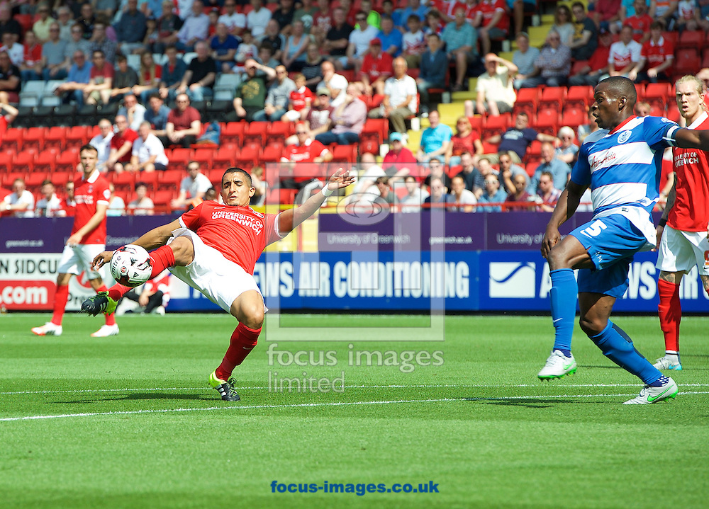 Ahmed Kashi of Charlton Athletic has a shot on goal during the Sky Bet Championship match at The Valley, London<br /> Picture by Alan Stanford/Focus Images Ltd +44 7915 056117<br /> 08/08/2015