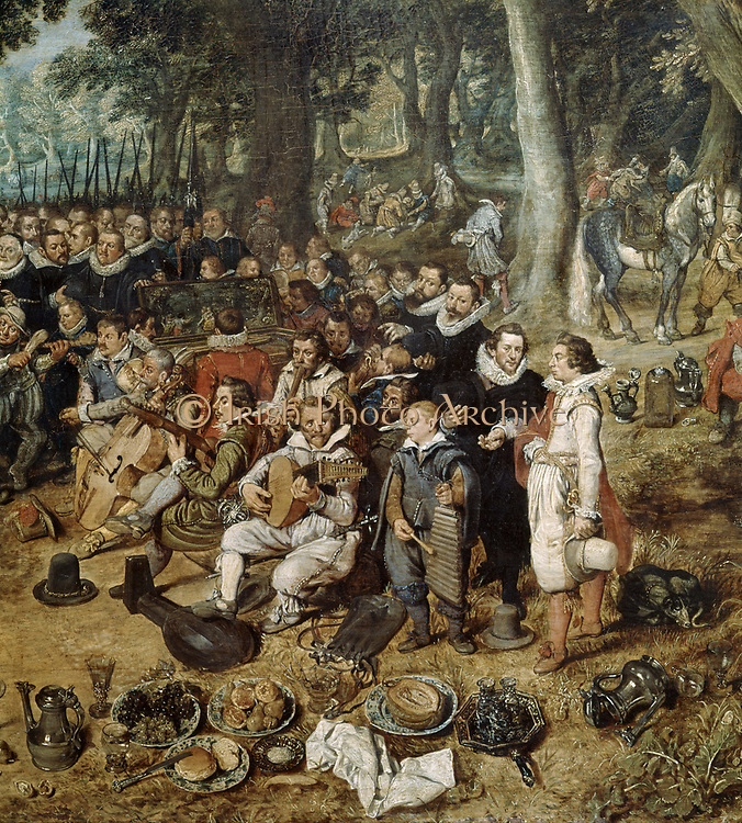 Celebration of the Truce of 1609' (detail).  Band of musicians.  In 1609 The Twelve Years' Truce between Spain and the Dutch Republic was signed. Adriaen van de Venne (1589-1662) Dutch Baroque painter and draftsman.