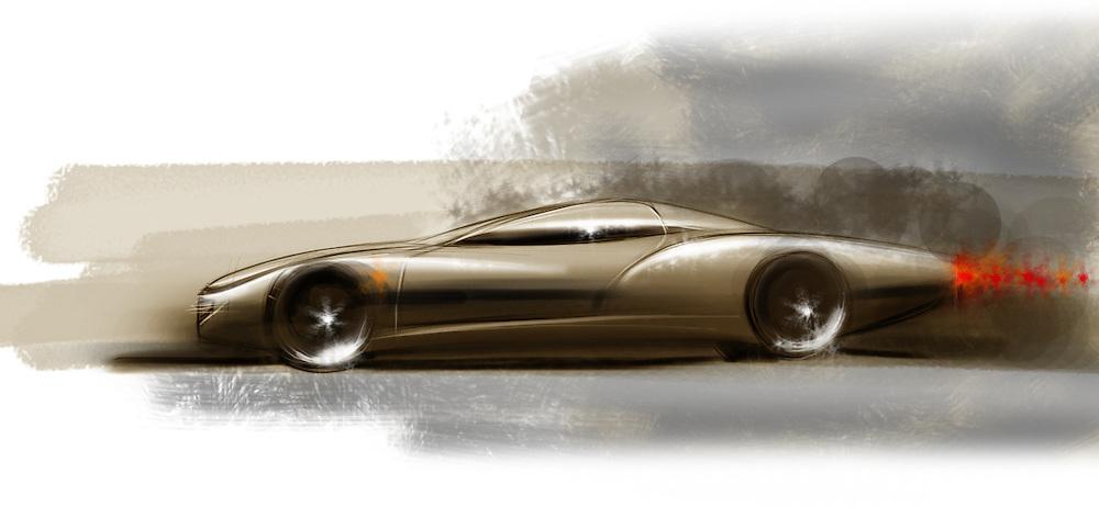A retro car design by Adrian Dewey. Adobe photoshop, freehand sketch on a wacom Bamboo