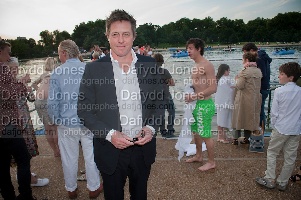 HUGH GRANT, Chucs Dive & Mountain Shop charity Swim Party: Lido at The Serpentine. London. 4 July 2011. <br /> <br />  , -DO NOT ARCHIVE-© Copyright Photograph by Dafydd Jones. 248 Clapham Rd. London SW9 0PZ. Tel 0207 820 0771. www.dafjones.com.