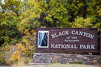 Welcome sign at the Black Canyon of the Gunnison National Park, Colorado.