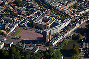 Nederland, Friesland, Leeuwarden, 08-09-2009; Oldehoofsterkerkhof met  toren Oldehove, Hoofdpostkantooe en het Stadskantoor.Luchtfoto (toeslag); aerial photo (additional fee required); .foto Siebe Swart / photo Siebe Swart