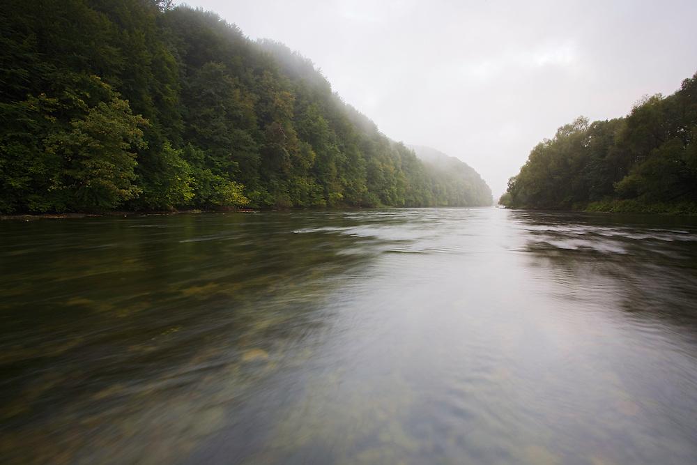 A foggy September morning at the San River close to Myczkowce, Poland.