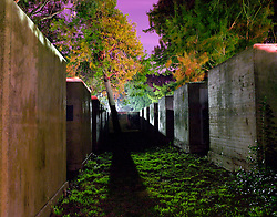 Nighttime view of  several World War 2 era bomb shelters located on Mare Island.  Mare Island is a former naval shipyard located on the bay 30 miles north of San Francisco