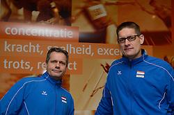 20-12-2013 VOLLEYBAL: PERSCONFERENTIE ORANJE MANNEN EN VROUWEN: ARNHEM<br /> Op Papendal werd een perslunch met de Oranje mannen en vrouwen georganiseerd / Gido Vermeulen en Edwin Benne<br /> &copy;2013-FotoHoogendoorn.nl