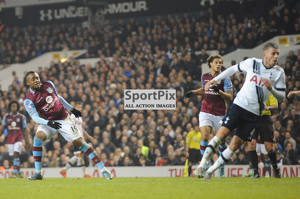 Aston Villas Jordan Ayew pulls a goal back for his side during the Tottenham v Aston Villa match in the Barclays Premier League on the 2nd November 2015