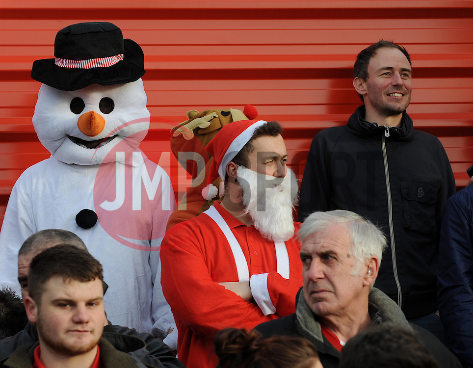 Bristol City fans dressed up for christmas - Photo mandatory by-line: Dougie Allward/JMP - Tel: Mobile: 07966 386802 08/12/2013 - SPORT - Football - Tamworth - The Lamb Ground - Tamworth v Bristol City - FA Cup - Second Round