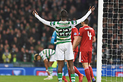 ~Odsonne Edouard was hoping for a pass from Scott Sinclair during the Betfred Cup Final between Celtic and Aberdeen at Hampden Park, Glasgow, United Kingdom on 2 December 2018.