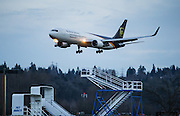 A Boeing 767 arrives at Boeing Field ferrying parcels for UPS. <br />