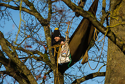 Harefield, UK. 21 January, 2020. An activist looks out from a hammock suspended high up in a tree at the Save the Colne Valley wildlife protection camp. Activists seeking to protect ancient woodland threatened by the HS2 high-speed rail link continue to occupy both the roadside and woodland sites of the camp having retaken it from bailiffs acting on behalf of HS2 on 18th January. 108 ancient woodlands are set to be destroyed by HS2.