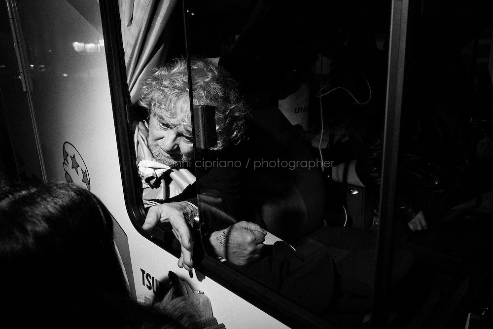 Taranto, Italy - 19 January 2013:  Comic Beppe Grillo, leader of the 5 Stars Movement in Taranto, Italy, on January 19th 2013.