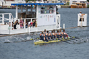 """Henley on Thames, United Kingdom, 4th July 2018, Wednesday, View, Heat of the the Remenham Challenge Cup.  """"Yale University, USA""""., passing the Progress board, W8+, first day of the annual,  """"Henley Royal Regatta"""", Henley Reach, River Thames, Thames Valley, England, © Peter SPURRIER,"""
