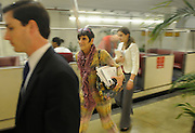 United States Congresswoman Rosa DeLauro, 69, a Democrat representing Connecticut's Third district. She is currently in her eleventh term, having been in Congress for twenty one years...Delauro returning from Congress following a vote waits at the underground rail shuttle that brings her from the Capitol back to her Congressional office in the Rayburn building. She is discussing her next appointment with a member of her staff.