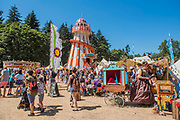 The Helter Skelter at teh centre of teh childrens play and activity area - The 2018 Latitude Festival, Henham Park. Suffolk 14 July 2018
