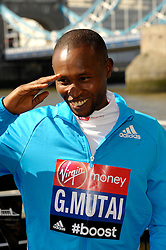 Geoffrey Mutaia attends the celebrity runners London Marathon photocall at Tower Bridge, London, UK.<br /> Wednesday, 9th April 2014. Picture by Chris Joseph / i-Images