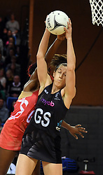 New Zealand's Bailey Mes takes the ball in front of England's Ama Agbeze in the Taini Jamison Trophy netball series match at Te Rauparaha Arena, Porirua, New Zealand, Thursday, September 07, 2017. Credit:SNPA / Ross Setford  **NO ARCHIVING**