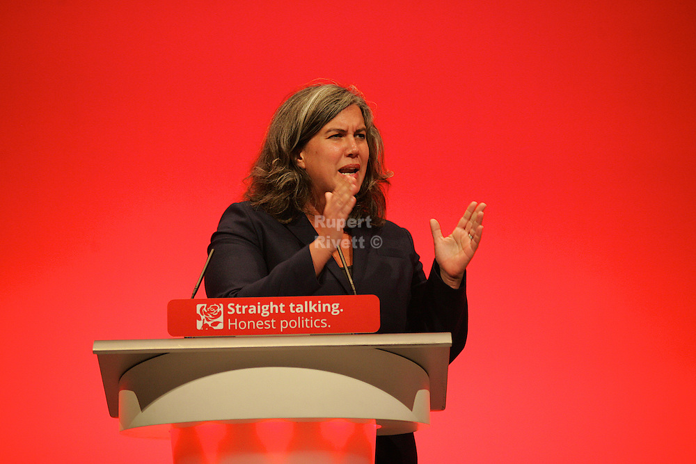 Heidi Alexander Labour MP for Lewisham East gives a passionate speech to members at the Labour Party Conference 2015, in her role as Shadow Health Secretary.