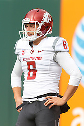 Nov 5, 2011; San Francisco CA, USA;  Washington State Cougars punter Daniel Wagner (6) warms up before the game against the California Golden Bears at AT&T Park.  California defeated Washington State 30-7. Mandatory Credit: Jason O. Watson-US PRESSWIRE