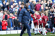 Queens Park Rangers Manager Jimmy Floyd Hasselbaink  during the Sky Bet Championship match between Burnley and Queens Park Rangers at Turf Moor, Burnley, England on 2 May 2016. Photo by Simon Davies.
