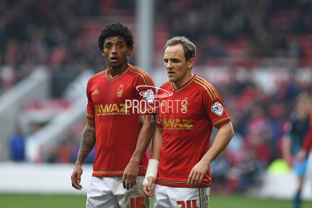 Nottingham Forest midfielder Ryan Mendes   and Nottingham Forest midfielder David Vaughan during the Sky Bet Championship match between Nottingham Forest and Sheffield Wednesday at the City Ground, Nottingham, England on 12 March 2016. Photo by Jon Hobley.