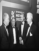 """People Of The Year Awards.1984..26.11.1984..11.26.1984..26th November 1984..The Tanaiste and Minister For Energy,Mr Dick Spring, presented a silver medallion and a scroll to eight men and one woman who were deemed to be """"People of the Year""""..The nine were selected by a panel of media editors.The awards were sponsored by New Ireland Assurance,Plc and presented at The Burlington Hotel,Dublin.The winners were:..Mr John Bermingham for his work in rehabilitating the physically and mentally handicapped..Ms Maeve Calthorpe for inspired work with the blind and visually impaired..Mr John Hume for his contribution to peace,democracy and the new Ireland Forum..Mr Patrick O'Connell, for fortitude in the face of grave illness and for fund raising..Drs Prem Puri and Barry O'Donnell,for their contribution to Medical Science..Mr Michael O'Hehir, for his contribution to broadcasting..Mr Fergal Quinn, for dynamic management in the public and private sectors..The special adjudicators award was given to Mr John Parker for his work in revitalising Harland and Wolff shipyard...Image shows Mr Kevin O'Donnell,(right), Managing Director,New Ireland Assurance,Plc chatting with three of the award winners,Dr Barry O'Donnell,Mr John Bermingham and Mr Patrick O'Connell."""