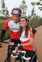 {Prudential RideLondonSurrey100. Gary Watson and Lisa Russell who are getting married on the route}<br /> Prudential RideLondon, the world's greatest festival of cycling, involving 70,000+ cyclists – from Olympic champions to a free family fun ride - riding in five events over closed roads in London and Surrey over the weekend of 9th and 10th August. <br /> <br /> Photo: Roger Allen for Prudential RideLondon<br /> <br /> See www.PrudentialRideLondon.co.uk for more.<br /> <br /> For further information: Penny Dain 07799 170433<br /> pennyd@ridelondon.co.uk