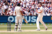 Josh Hazelwood Celebrates the wicket of Dawid Malan during day three of the Australia v England fourth test at the Melbourne Cricket Ground, Melbourne, Australia on 28 December 2017. Photo by Mark  Witte.