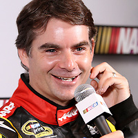 Driver Jeff Gordon speaks with the media during the NASCAR Media Day event at Daytona International Speedway on Thursday, February 14, 2013 in Daytona Beach, Florida.  (AP Photo/Alex Menendez)