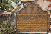 California historical landmark plaque at Mission San Miguel Archangel (16th Mission-1797), San Miguel, California