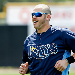 March 16, 2012; Dunedin, FL, USA; Tampa Bay Rays third baseman Evan Longoria (3) sporting a new shaved head before a  spring training game against the Toronto Blue Jays at Florida Auto Exchange Stadium. A total of 71 members of the organization including players and club personnel that shaved their heads for the charity Cut for a Cure event to raise money and awareness for the Pediatric Cancer Foundation.  Mandatory Credit: Derick E. Hingle-US PRESSWIRE
