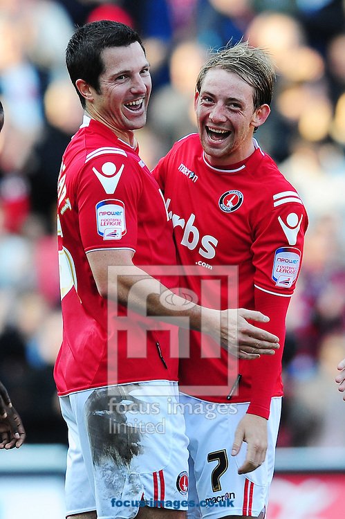 Picture by Alex Broadway/Focus Images Ltd.  07905 628187.22/10/11.Yann Kermorgant of Charlton celebrates his second goal during the Npower League One match at The Valley stadium, London.